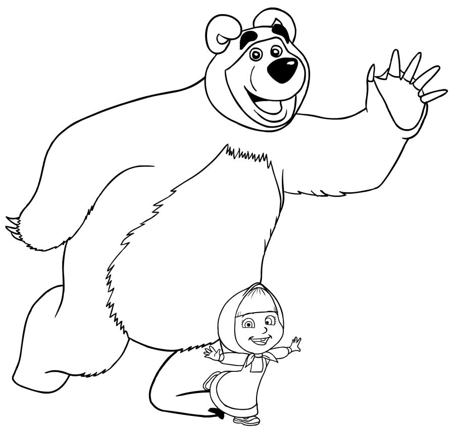 disegno da colorare di masha e orso