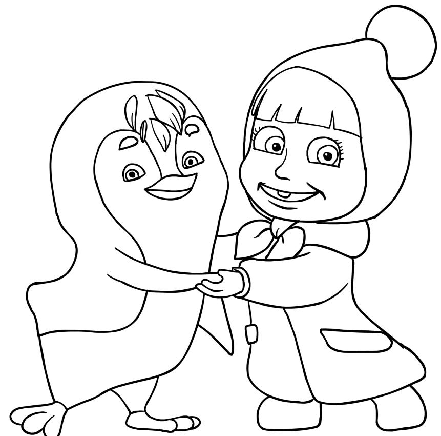 Disegno da colorare di masha con pinguino for Masha e orso disegni da colorare