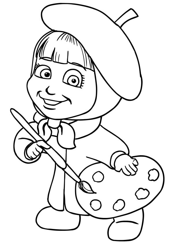 Disegno da colorare di masha pittrice for Masha e orso disegni da colorare