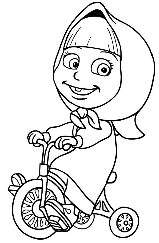 disegno da colorare di masha sul triciclo