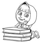 Masha dibujando en libros
