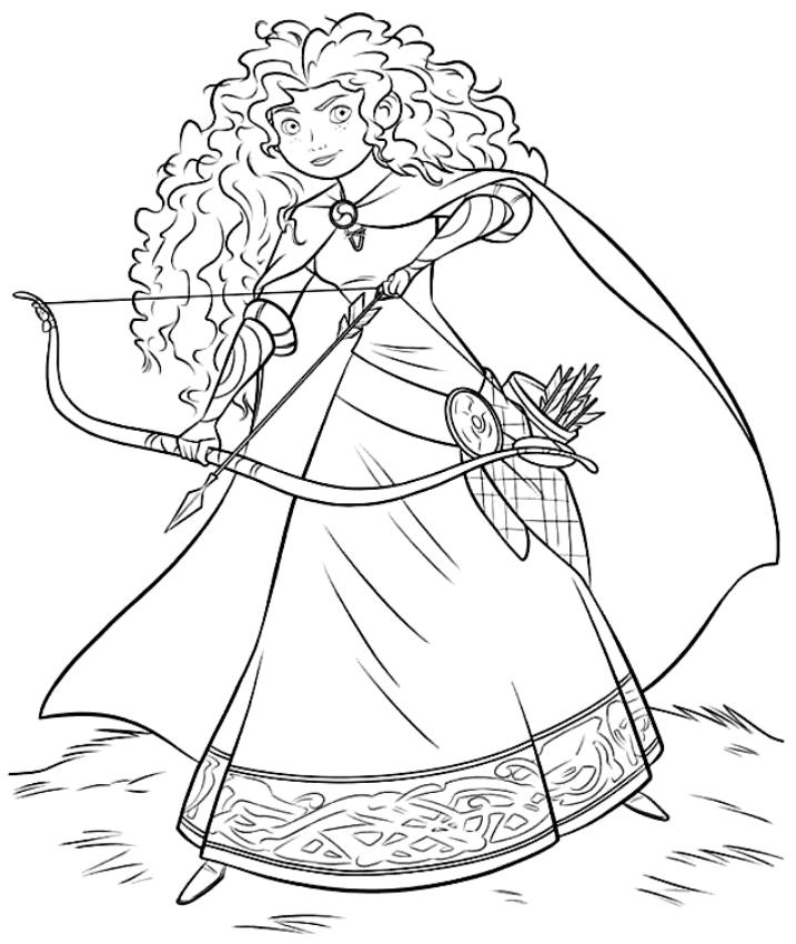 Dibujo de Mérida con el arco de Ribelle la valiente para imprimir y colorear