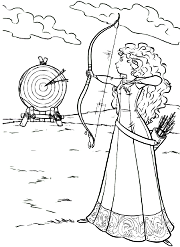 Mérida (Ribelle la valiente) dibujando el objetivo para imprimir y colorear