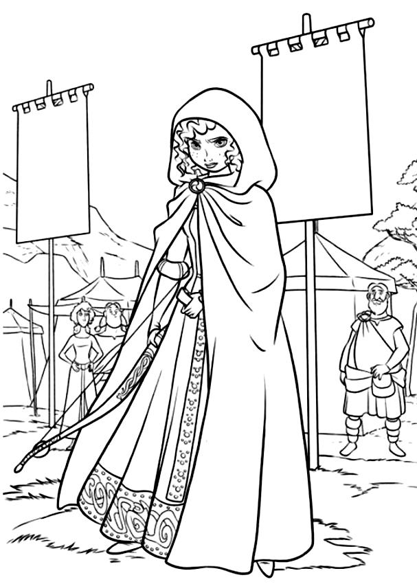Mérida (Ribelle la valiente) con página para colorear de capucha para imprimir y colorear