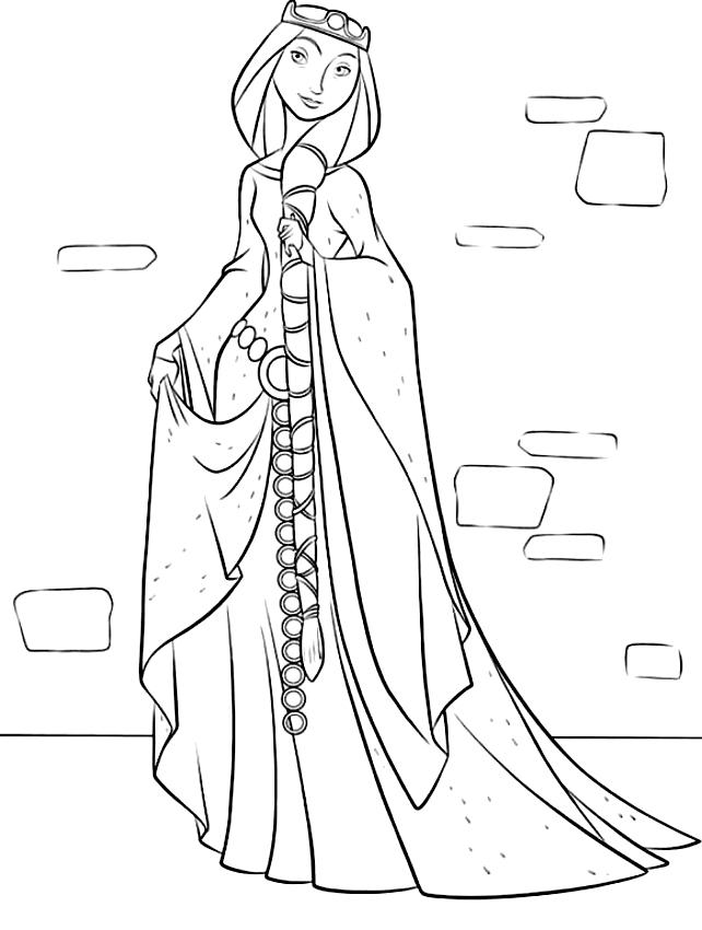 인쇄하고 채색 할 Queen Elionor의 그림