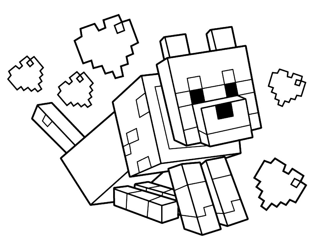 Disegno Di Lupo Di Minecraft Da Colorare