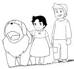 Desenho de Heidi, Peter e Nebbia para colorir e imprimir