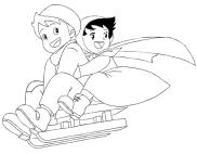 Desenho de Heidi e Pedro no trenó para imprimir e colorir