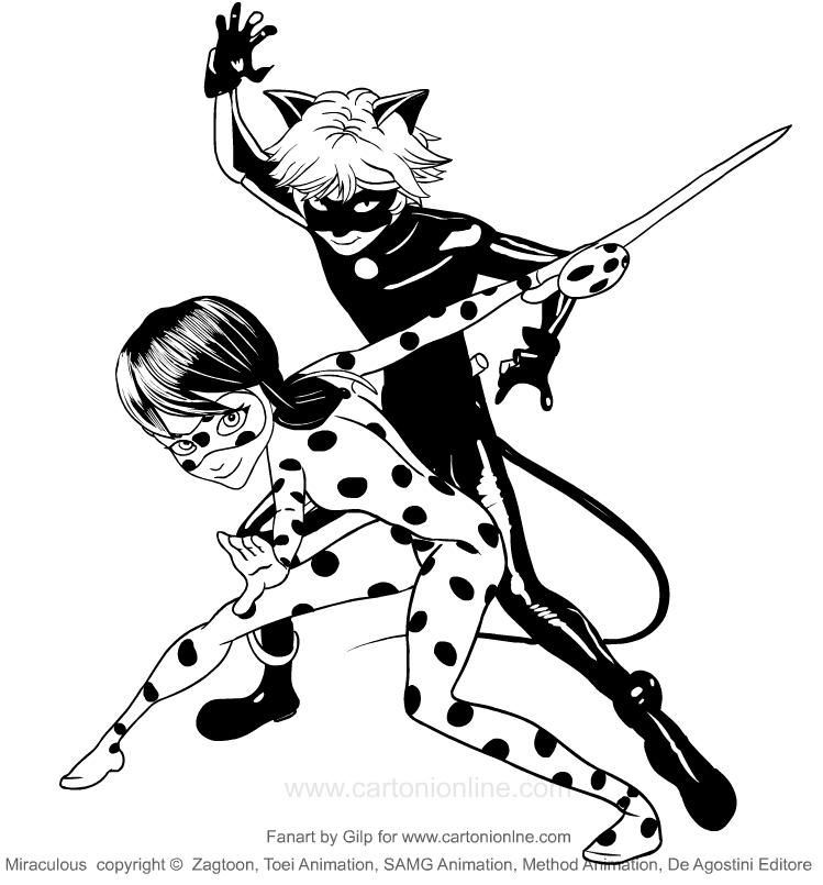 LadyBug en Chat_Noir (wonderbaarlijke) kleurplaat om af te drukken en te kleuren