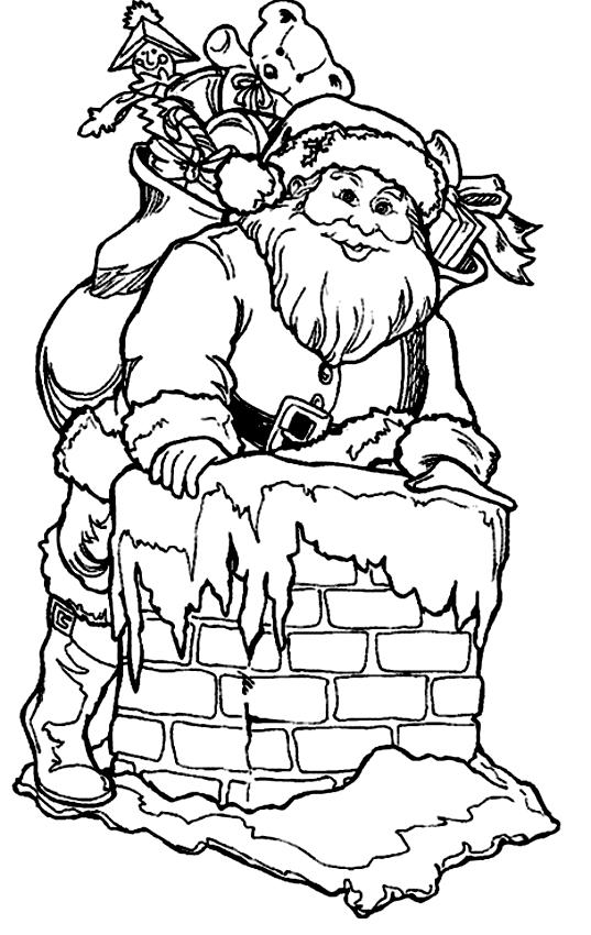 Immagini Di Babbo Natale Da Colorare E Stampare.Disegno Di Babbo Natale Che Passa Dal Camino Da Colorare
