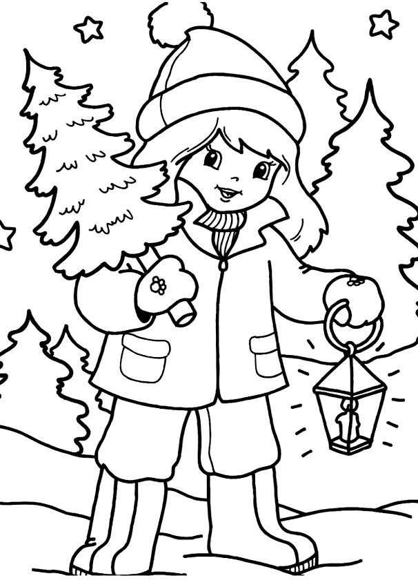 Disegno di bambina con albero di natale da colorare for Disegno bambina da colorare