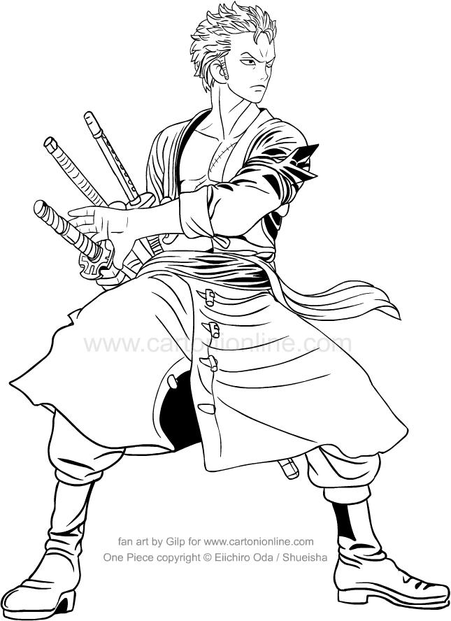 Coloriage de One Piece Roronoa Zoro à imprimer et colorier
