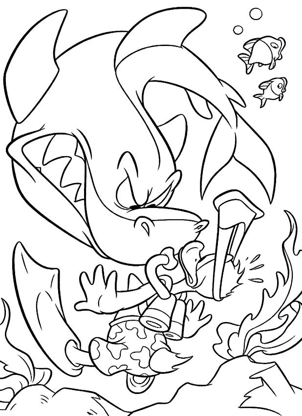 disegno di paperino e lo squalo da colorare