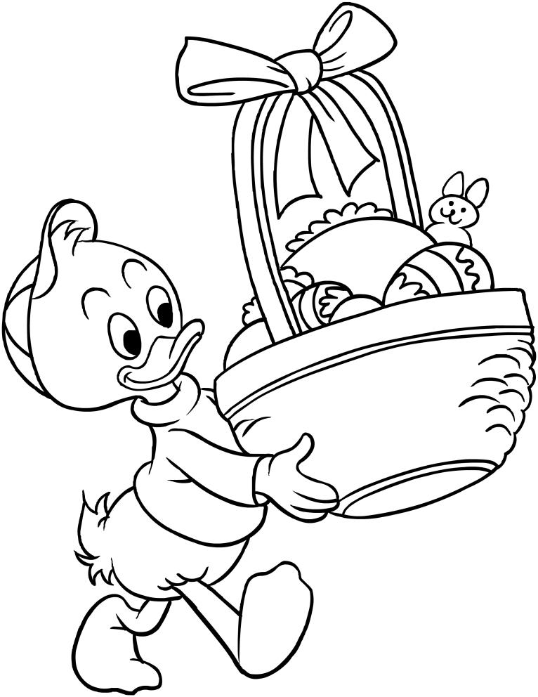 Página para colorear de Qui, Quo, Qua con huevos de Pascua para imprimir y colorear