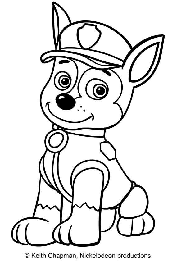 Chase from paw patrol coloring pages coloring pages for Disegni da stampare paw patrol