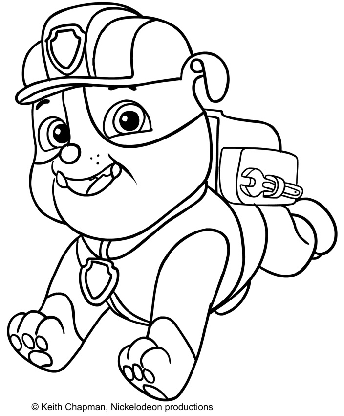 Disegno da colorare di rubble for Immagini paw patrol da colorare