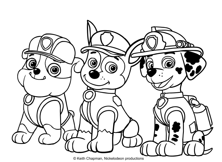 Disegno da colorare di rubble chase e marshall for Immagini paw patrol da colorare