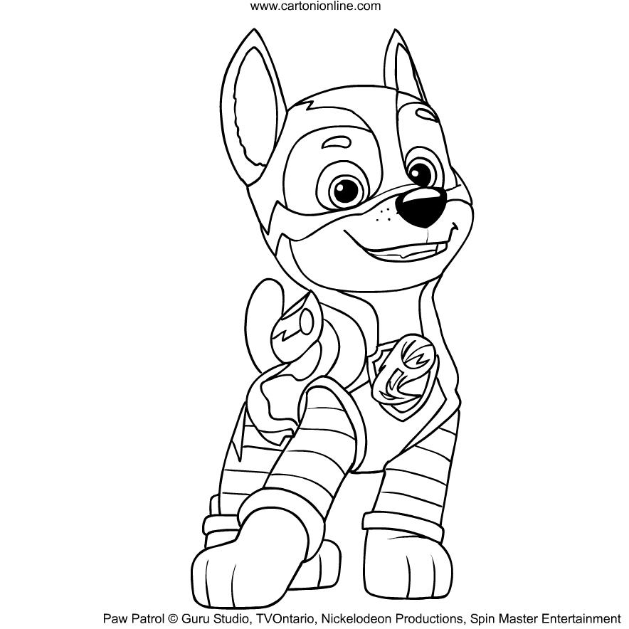 Dibujo De Chase De La Patrulla Canina Mighty Pups Para Colorear