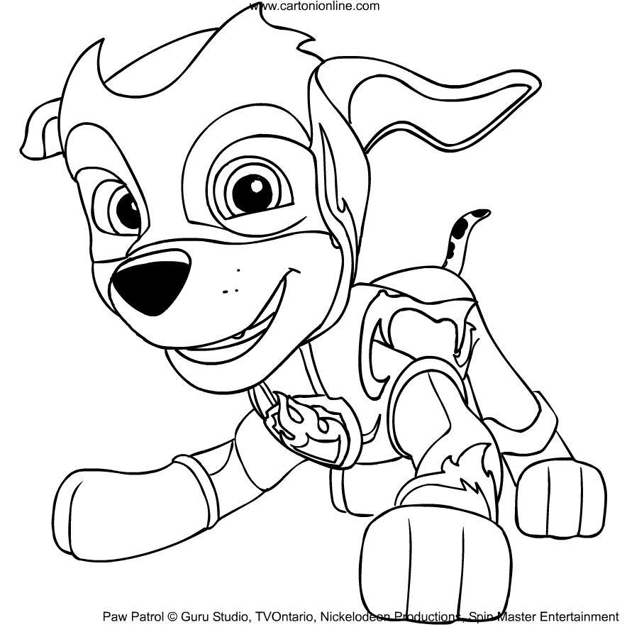 Dibujo De Marshall De La Patrulla Canina Mighty Pups Para Colorear