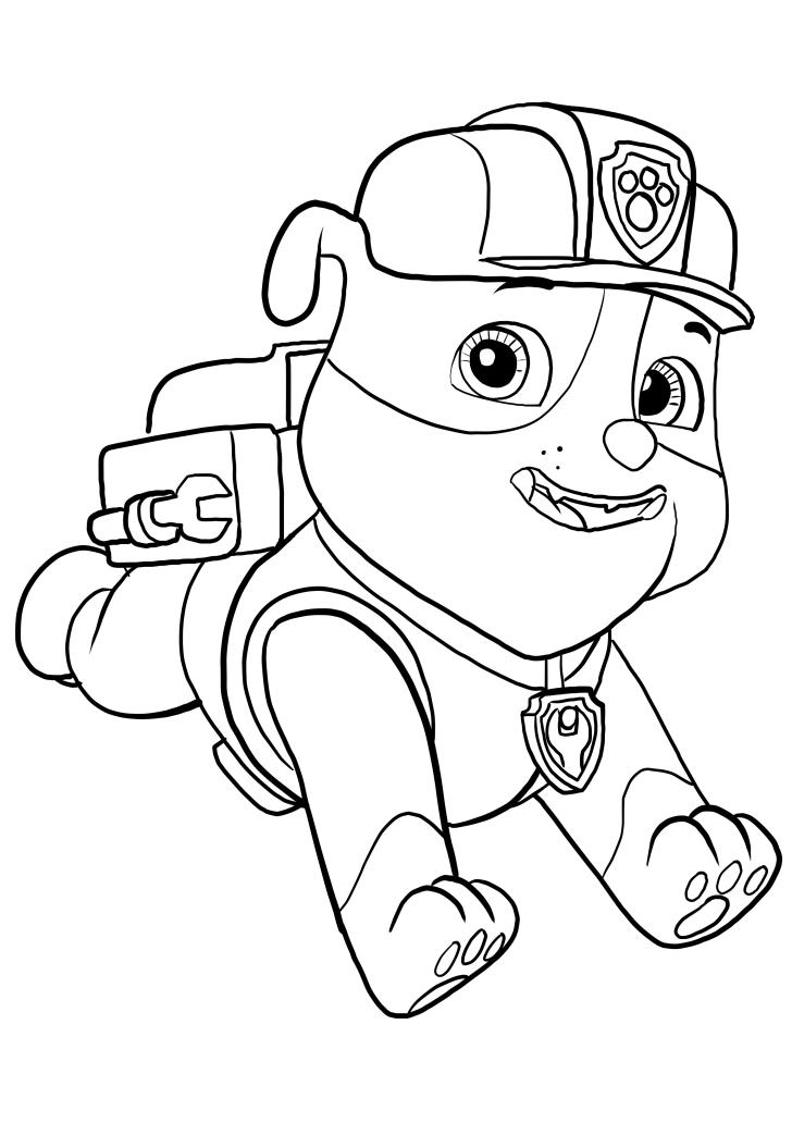 dibujo de rubble de paw patrol  la patrulla canina para