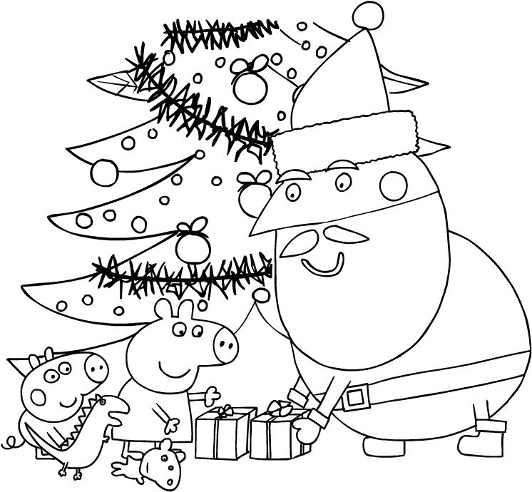 Dibujo de Papá Noel entregando regalos a Peppa y George