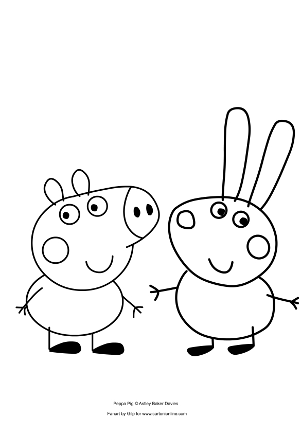 Dibujo de George Pig y Richard Rabbit