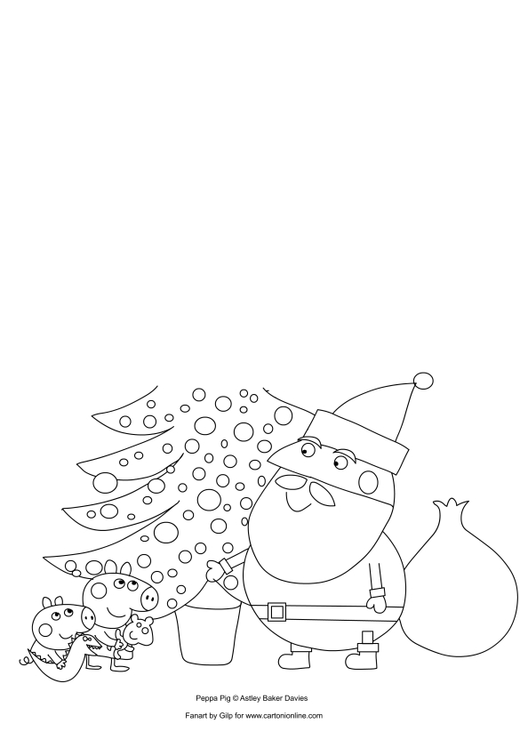 Disegno Di Peppa E George Pig Con Babbo Natale Da Colorare