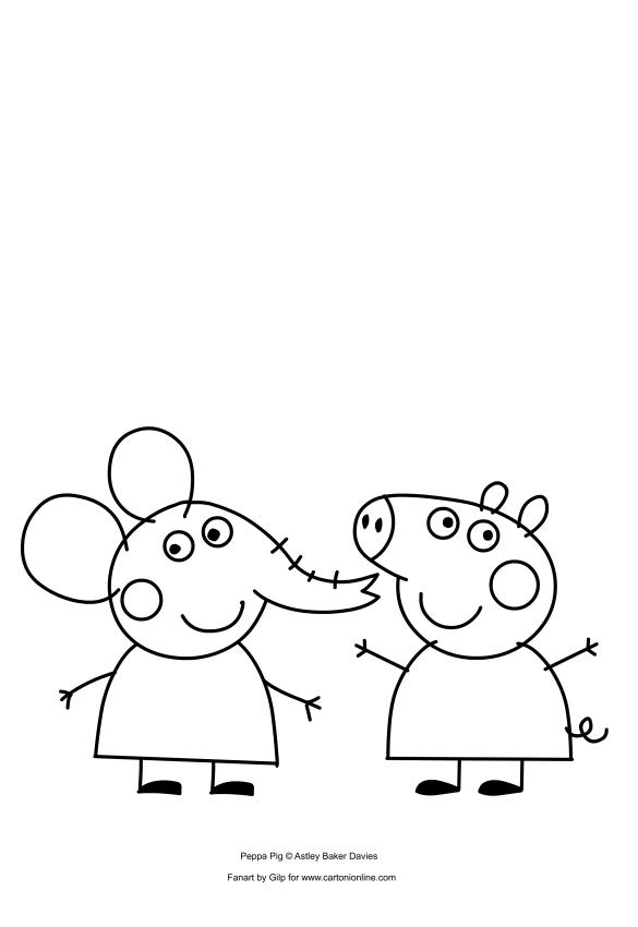 Disegno da stampare e colorare di Peppa Pig e Emily Elefante