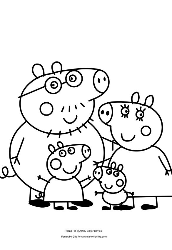Disegno di peppa pig con la sua famiglia da colorare for Peppa da stampare
