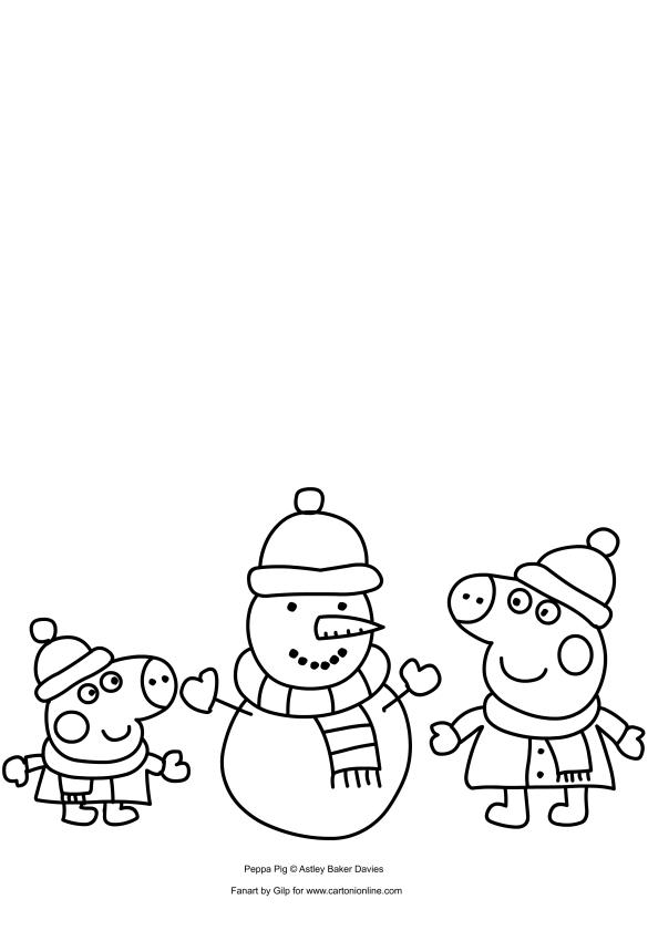 Dibujo de Peppa Pig y George construyendo un muñeco de nieve