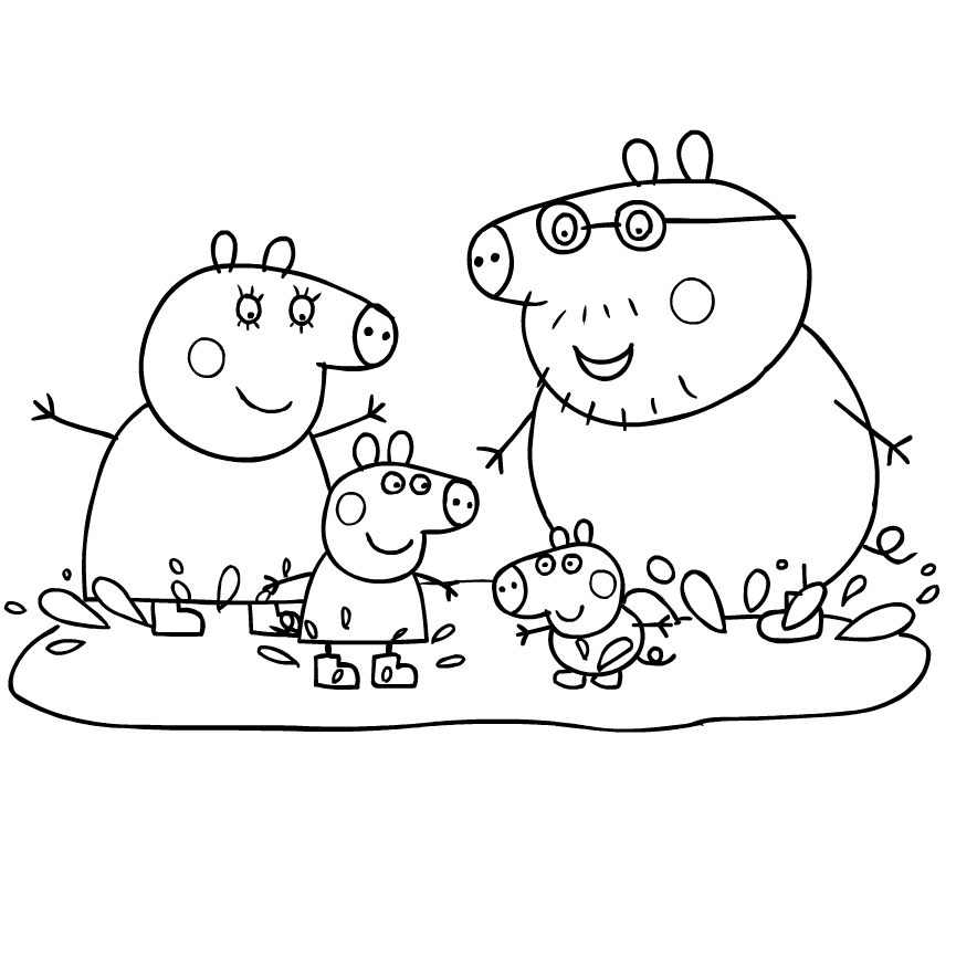Coloriage 4 De Peppa Pig