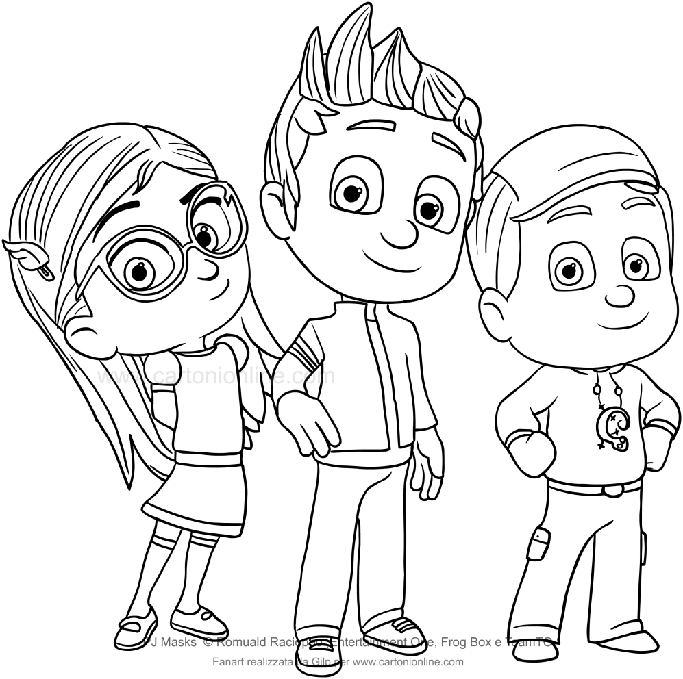 Disegno di connor amaya e greg dei pj masks for Pjmask da colorare