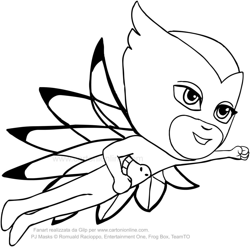 disegno di gufetta dei pj masks superpigiamini da colorare