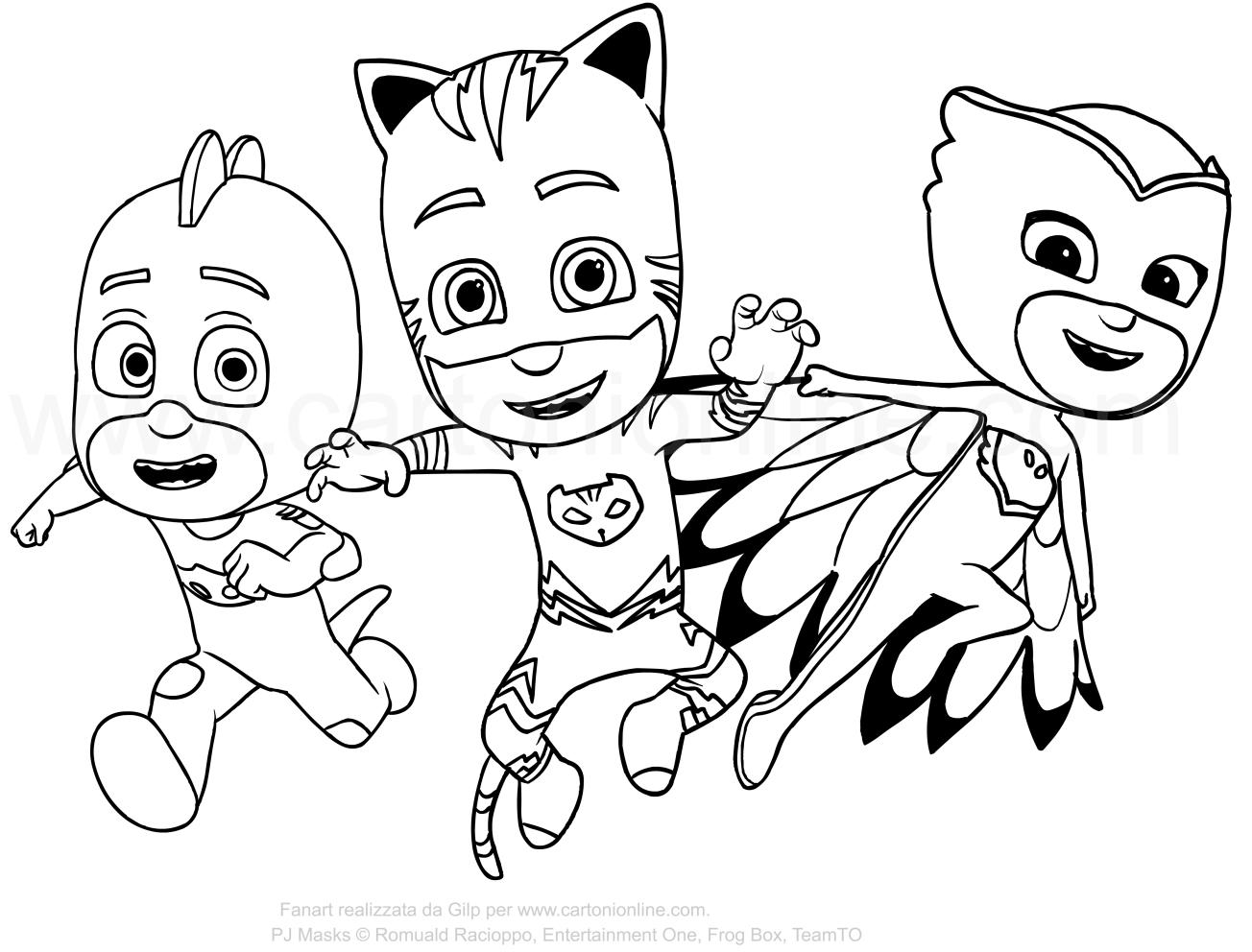 Kleurplaat van de PJ Masks - Super Pyjamas