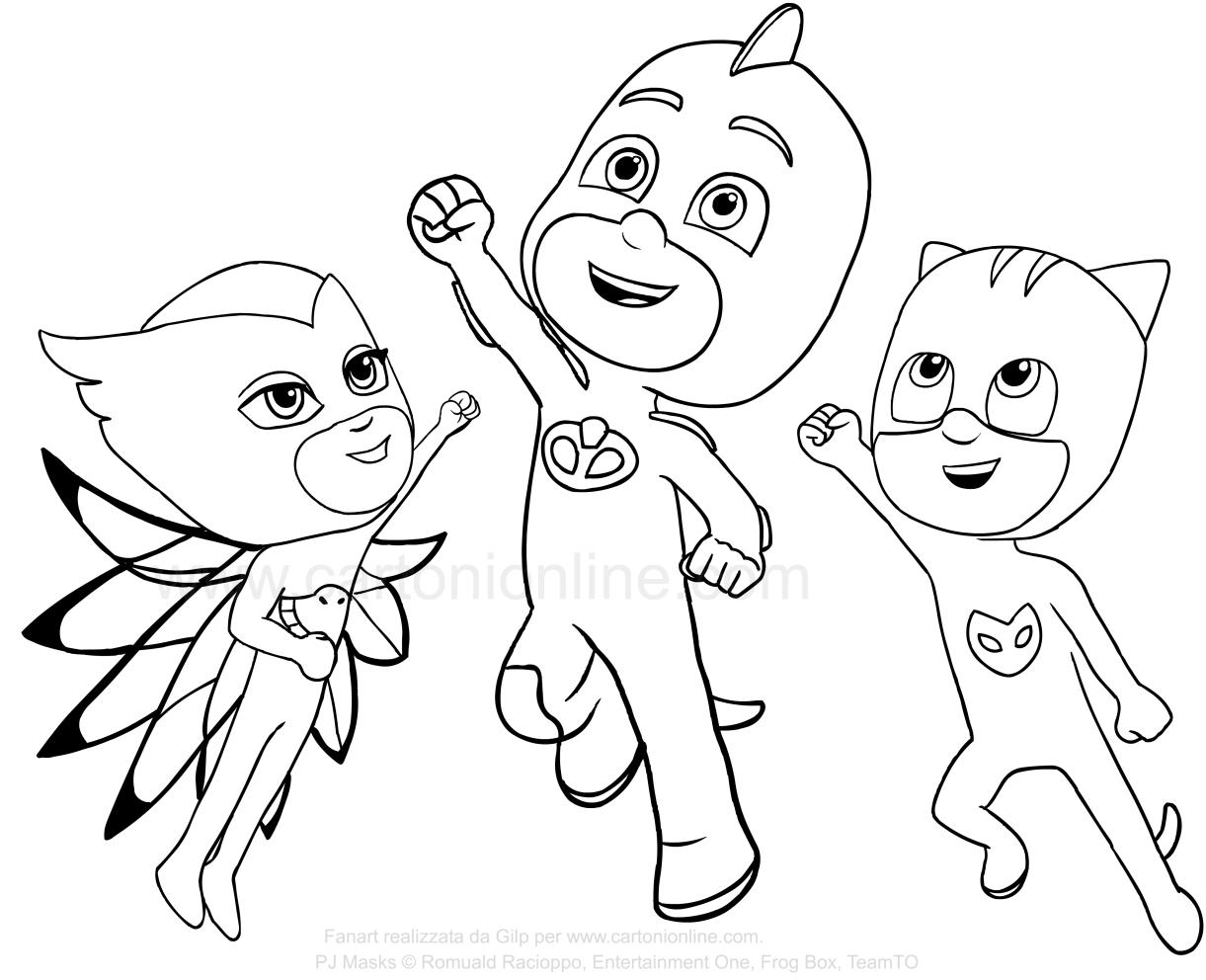 El pijama PJ Masks Super salta por la alegría de volar logrado el éxito contra los malos que quieren arruinar el día