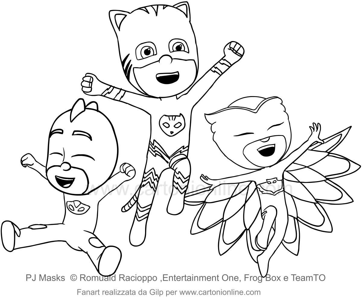 De PJ Masks Super-pyjama verheugt zich na wederom triomferen tegen de slechteriken