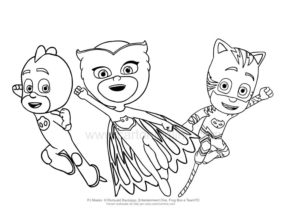 Dibujo para colorear de las máscaras de PJ - Super pijamas