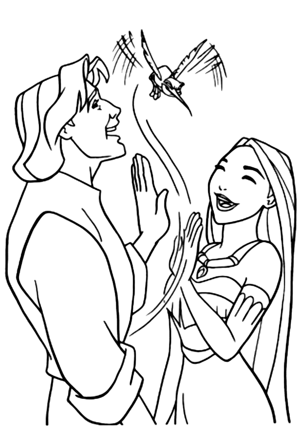 Dibujo de John Smith y Pocahontas con el colibrí para imprimir y colorear