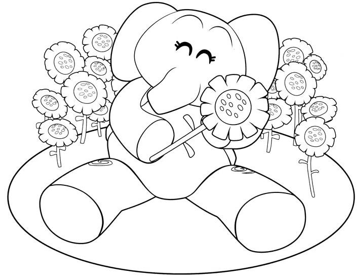 Disegni Di Rose Da Stampare: Disegno Di Elly, L'elefantina Rosa In Mezzo Ai Fiori Da