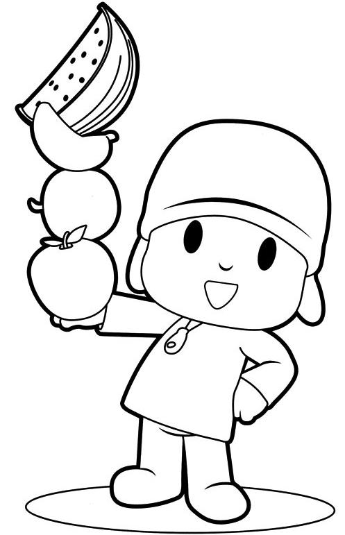 Disegno Di Pocoyo Fa Il Giocoliere Con La Frutta Da Colorare