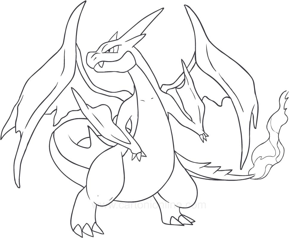 Disegno di charizard dei pokemon da colorare for Pokemon da stampare e colorare