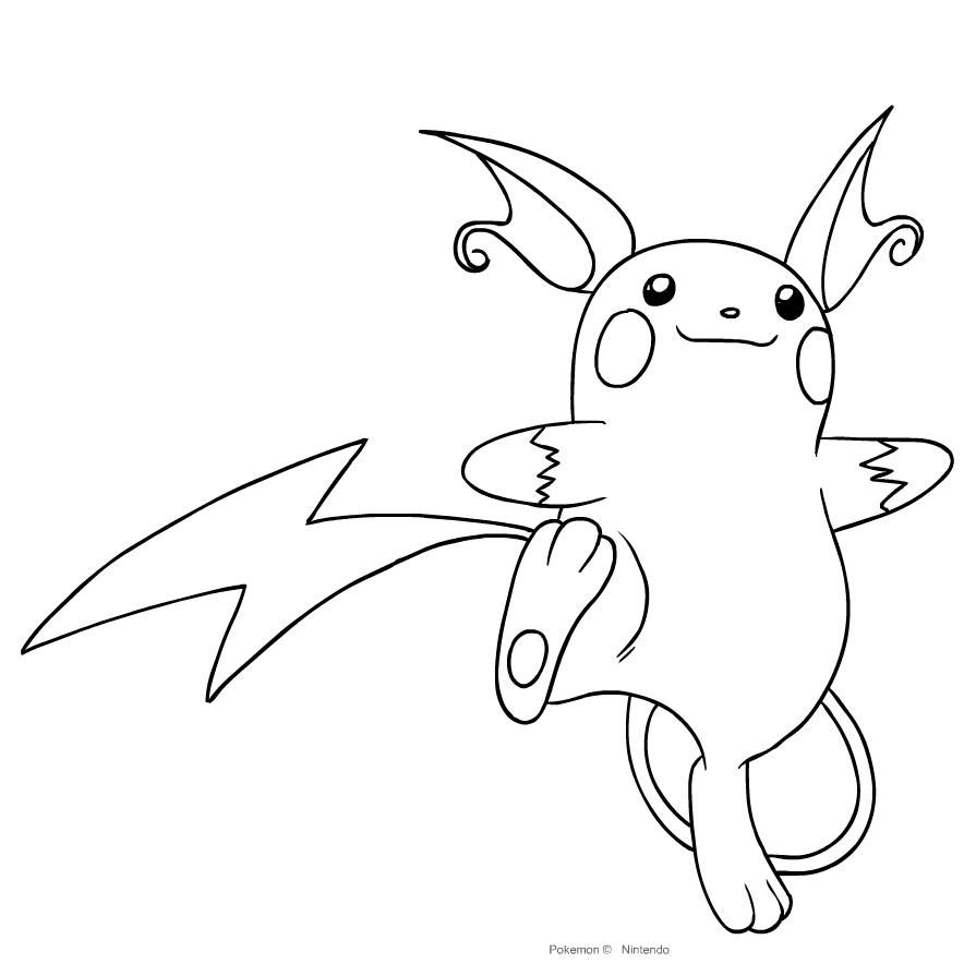 Desenho De Raichu De Pokemon Primera Geracao Para Colorir
