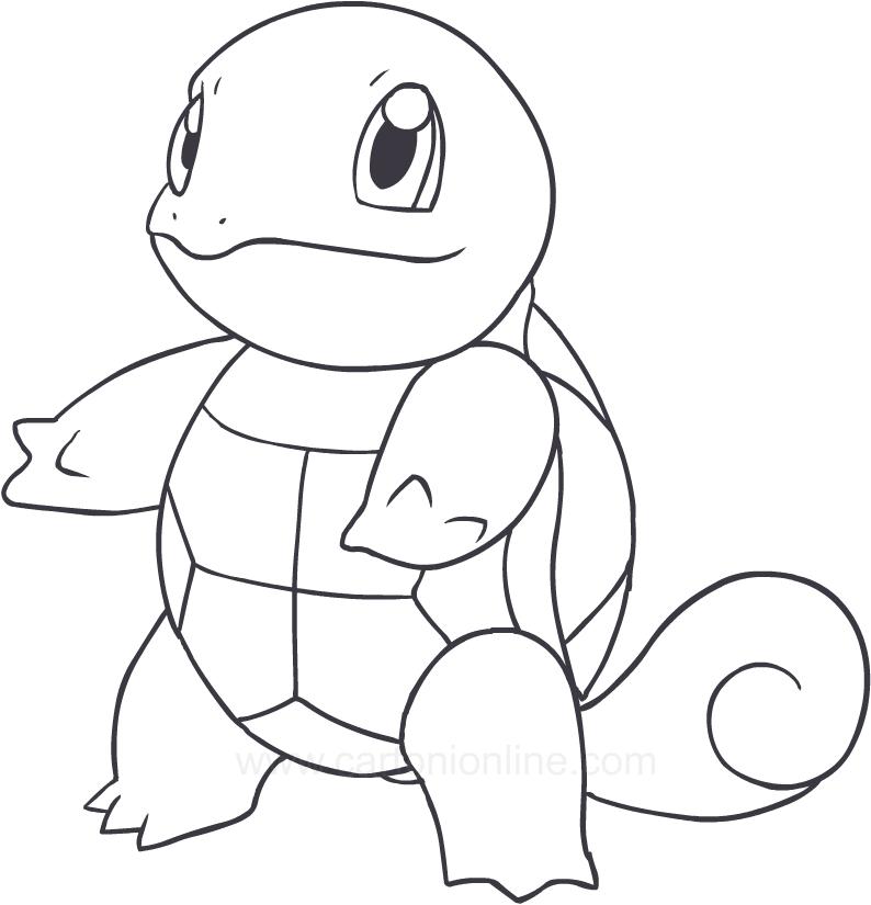Disegno di squirtle dei pokemon da colorare for Pokemon da stampare e colorare