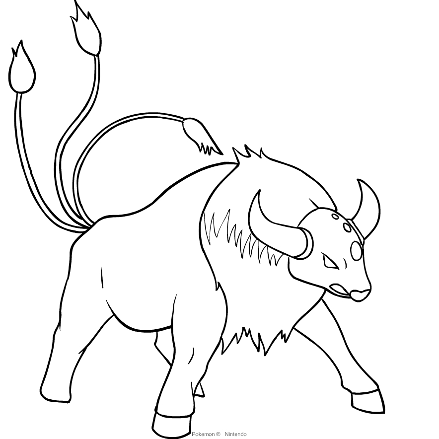 Tauros From Pokemon Coloring Page