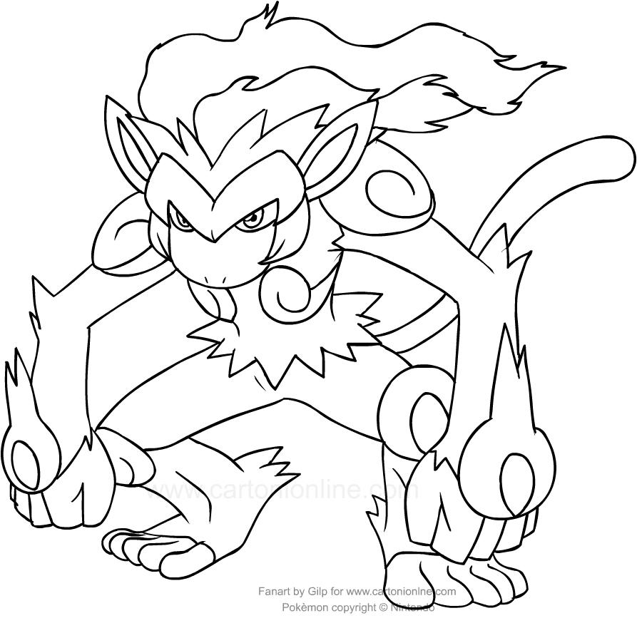 Disegni da colorare pokemon infernape timazighin