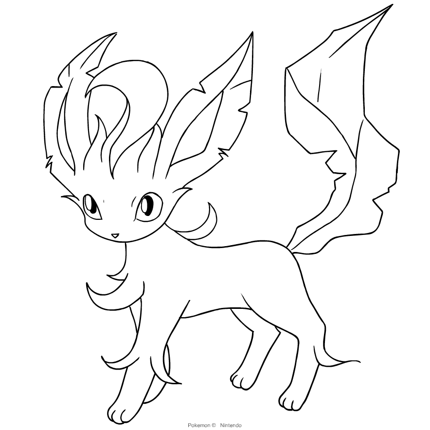 leafeon from the fourth generation of the pokemon coloring page cartoni online