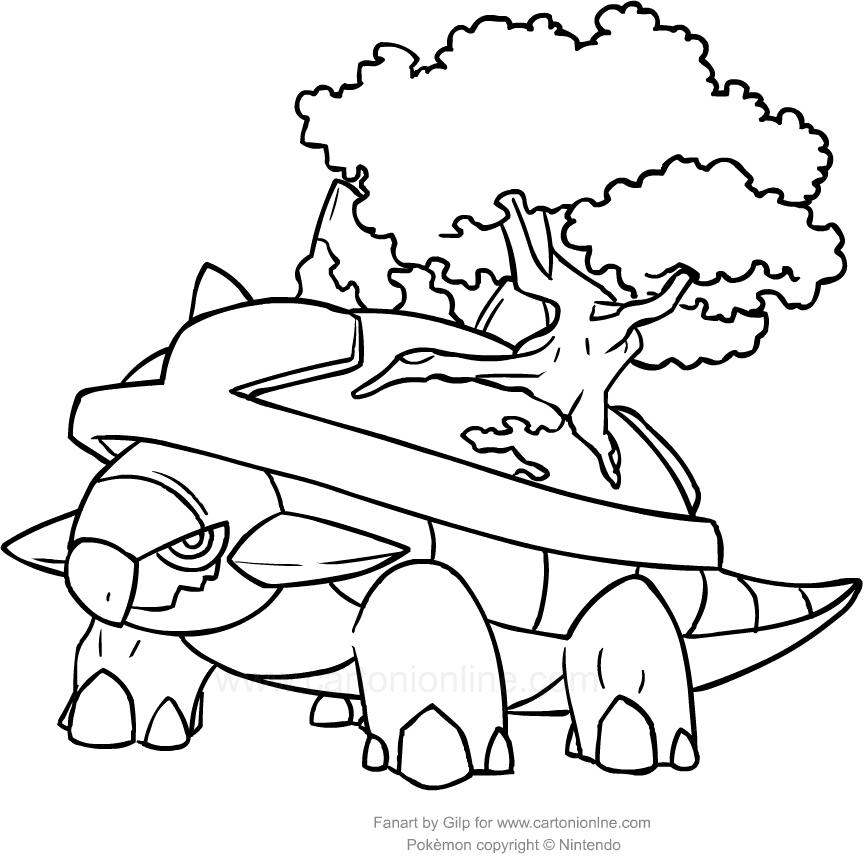 Disegno di torterra dei pokemon da colorare for Pokemon da stampare e colorare