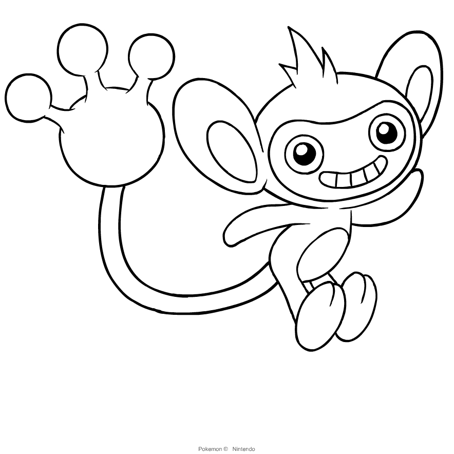Aipom Pokemon Coloring Page - Free Pokémon Coloring Pages ... | 884x884