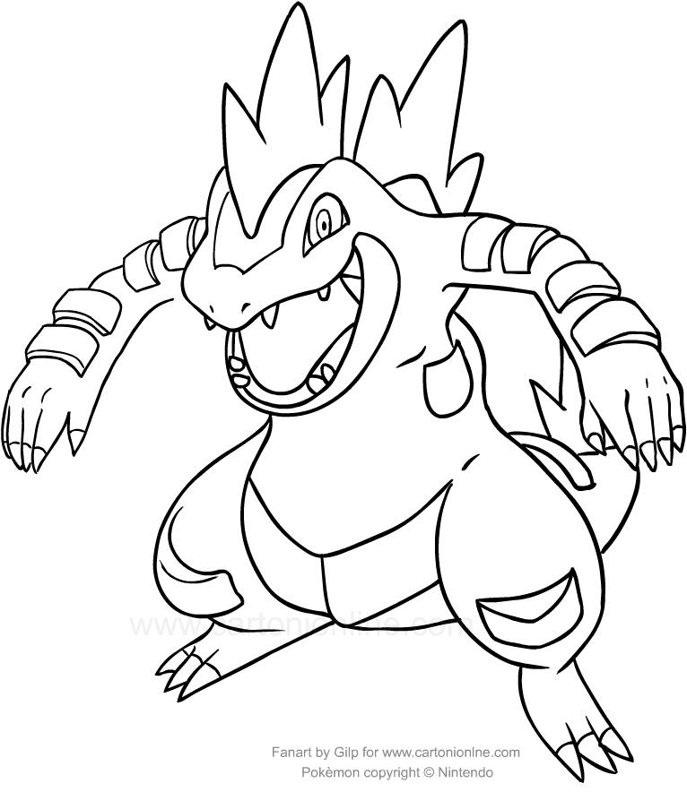Disegno di feraligatr dei pokemon da colorare for Pokemon da stampare e colorare