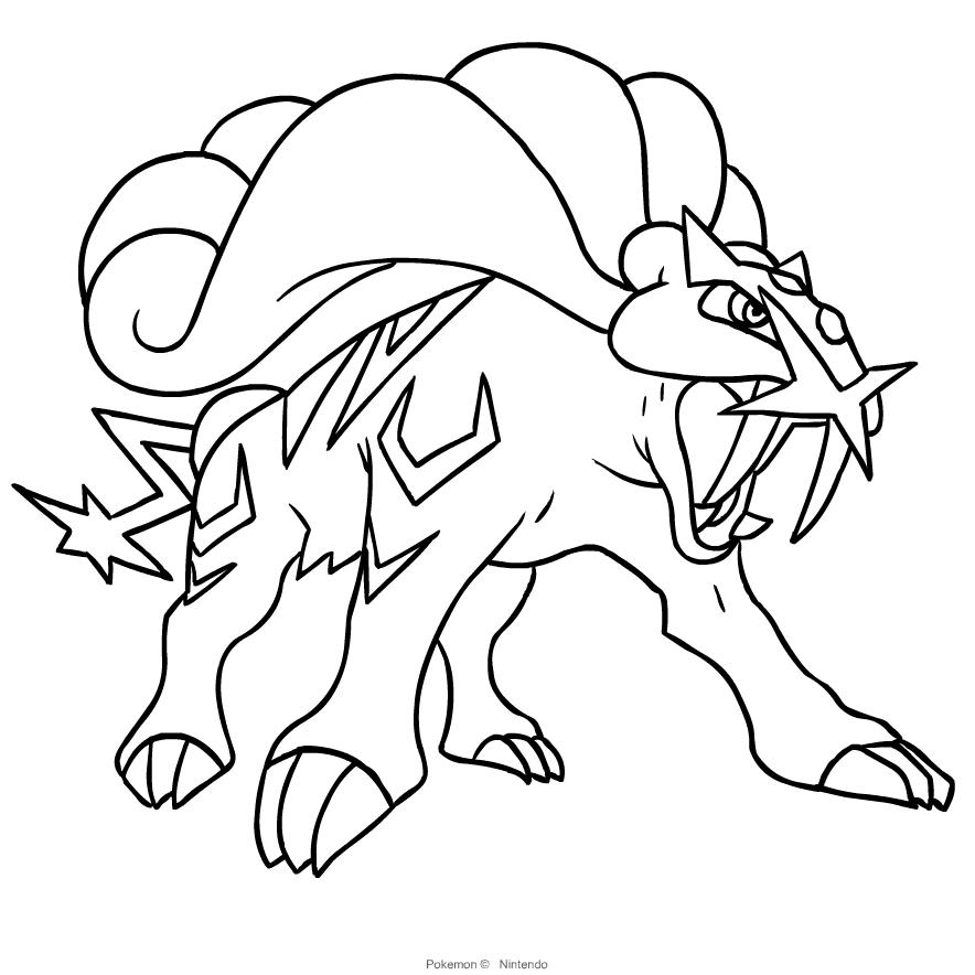Desenho De Raikou Dos Pokemon Segunda Geracao Para Colorir